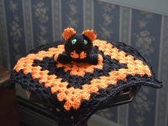 Halloween black cat security blanket for by MadeinMassachusetts