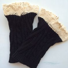 Lace-trimmed Boot Toppers Cute cream lace detail at the top! Bottom is black. Never worn. Accessories Hosiery & Socks