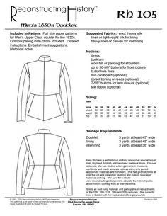 RH105. 16th Century Cavalier's Doublet 17th century Men's Doublet sewing pattern. TO CLEAR. Reconstructing History from VenaCavaDesign on Etsy Studio