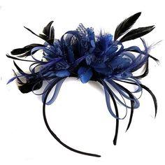 Navy Blue Feather Hair Fascinator Headband Wedding and Royal Ascot Races Ladies Fascinator Headband, Fascinator Hairstyles, Wedding Fascinators, Wedding Headband, Feather Hat, Blue Feather, Royal Ascot Races, Ruby Wedding, Feathered Hairstyles