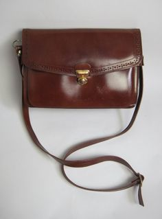 Vintage 1970s Small Chestnut Brown Leather Satchel Shoulder Bag available to buy online at Virtual Vintage Clothing £25