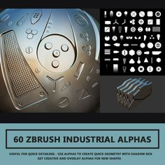 FREE   60 Industrial Zbrush Alpha's By Travis Davids