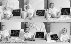 monthly baby picture collage....this is cute instead of the sticker on the onesie