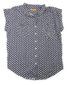 Jachs Girlfriend Womens Size 2X-Large Button Down Shirt, Blue Diamond