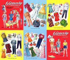 6 Grown Up Paper Dolls, Merrill 1941 Restored Book