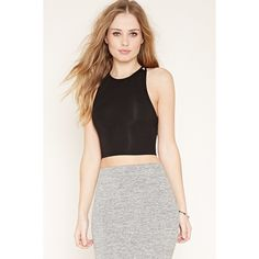 Forever 21 Women's  Cutout Back Crop Top ($11) ❤ liked on Polyvore featuring tops, ruched top, forever 21, crop top, strappy crop top and spaghetti-strap top