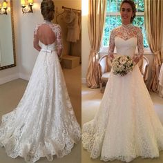 Vintage Lace Wedding Dresses High Neck Illusion Sleeved Open Back Aline Wedding…