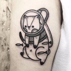 Gatinho mergulhador #HugoTattooer #gringo #kawaii #blackwork #cute #fofo #cat #gato #pet #petlovers #catlover #mergulhador #scubadiver #peixe #fish #pontilhismo #dotwork
