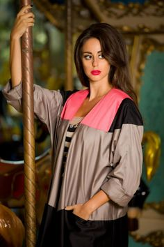 #Abaya by #Haal design: photoshoot took place in an amusement park...fun theme and colors