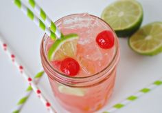~ Cherry Limeade Recipe. (Just don't rest it on your stomach, Caiti.)