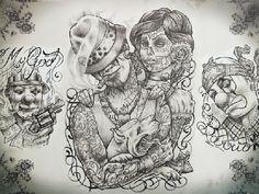 Gangster Tattoo Flash | Gangster Tattoo Stencils Hawaii Dermatology