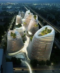 Tree growth solution on high rises- provide protection from wind and elements.