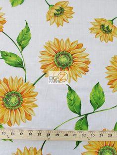 SUN FLOWER PRINT POLY COTTON FABRIC-White-POLYCOTTON 58/59 SUNFLOWER - P68 #BIGZFABRIC