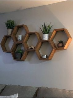 Living Room Shelves, Hexagon Shelves, Hexagon Shelf Decor, Geometric Shelves, Wood Shelves, Wall Shelves Living Room, Rustic Shelves, Honeycomb Shelves, Shelf Decor Living Room