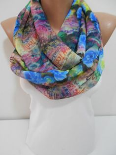 Rose Print Book Scarf Scarves Chiffon Loop Scarf Spring Scarf Floral Scarf Trending items Gift ideas For Her Fashion Accessories ScarfClub