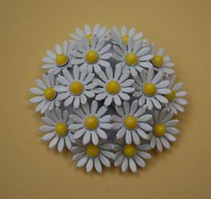 Vintage Daisy Flower Enamel Brooch by serendipitytreasure on Etsy, $14.99