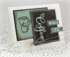 Coffee card by Julee Tilman using the Coffee and One Cup sets and Coffee Word Die from Verve.  #vervestamps