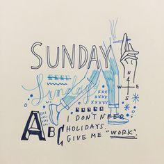 """""""Sunday"""" ここからちょくちょく書き足して、 寝る前にはどんな絵になってるのか。 #shogosekine"""