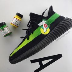Why not 🍋 Yeezy hand painted as always with paint. I'm just playing, don't take it too serious 😂 What drink could be next? Concept by Sneaker Plug, Sneaker Heels, Custom Painted Shoes, Custom Shoes, Best Sneakers, Custom Sneakers, Mens Fashion Shoes, Sneakers Fashion, Jordan Flip Flops