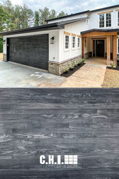 """""""Achieve modern and rustic, with the Carbon Oak accent wood tone from @chioverheaddoors. It's the perfect accent to this new modern farmhouse style home!"""" // @DoorTekGarageDoorService on IG Carbon Oak is gaining popularity this season! 📈 Which BOLD & modern look is your favorite: smooth black garage doors or moody, textured woodtones? Black Garage Doors, Faux Wood Garage Door, Modern Garage Doors, Modern Farmhouse Exterior, Modern Farmhouse Style, Planks, Modern Design, Smooth, Windows"""