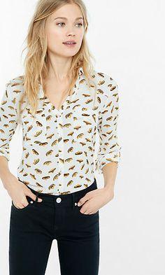slim fit sombrero print portofino shirt