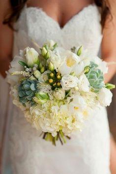 Beautiful white bouquet with succulents via TheELD.com | Meg Darket Photography
