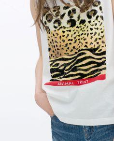 t-shirt estampa animal print  zara