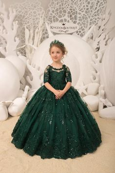 Items similar to Emerald green Flower Girl Dress Birthday Wedding Party Holiday Bridesmaid Flower Girl Emerald Tulle Lace Dress on Etsy Wedding Dresses For Girls, Dresses Kids Girl, Girl Outfits, Party Dresses For Kids, Baby Girl Party Dresses, Girls Pageant Dresses, Bridesmaid Dresses, Prom Dresses, Frocks For Girls