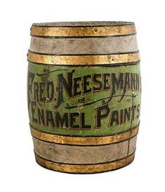 COUNTRY STORE PAINTED ADVERTISING BARREL, 19th c., inscribed Fred Neesemann's Enamel Paints