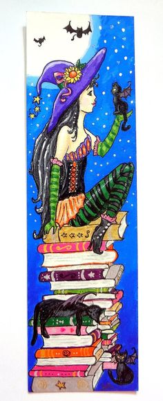 """""""Witch & Her Bat-Cats"""" ORIGINAL Acrylic Painting (Bookmark) by AnnieHagopianArt, $39.00"""