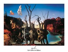 Salvador Dali Swans Reflecting Elephants painting for sale, this painting is available as handmade reproduction. Shop for Salvador Dali Swans Reflecting Elephants painting and frame at a discount of off. Magritte, Salvador Dali Gemälde, Salvador Dali Paintings, Elephant Poster, Elephant Art, Optical Illusion Paintings, Optical Illusions, Arte Pop, Pablo Picasso