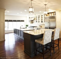dark base cabinets light upper cabinets - Google Search
