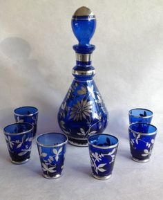 Blue and Silvered Venetian Decanter and 6 glasses