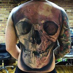 Full Back Skull Tattoo by New Image