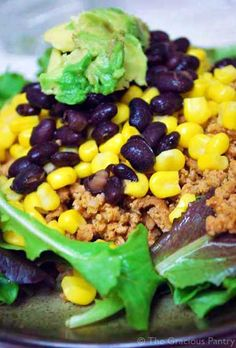 Clean Eating Taco Salad - I WILL SUBSTITUTE THE CORN AND BLACK BEANS FOR SOME MORE FESTIVE, COLORFUL VEGGIES (Paleo/autoimmune)