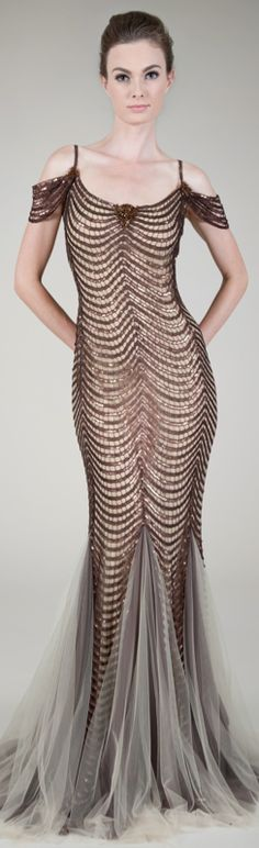 Paillette Embroidered Scallop Gown in Brown / Nude