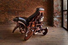 """steampunk furniture soft chair """"Lacerto Lectus"""" back Studio Furniture, Cool Furniture, Modern Furniture, Furniture Design, Steampunk Furniture, Soft Chair, Iron Work, Steampunk Fashion, Furniture Making"""