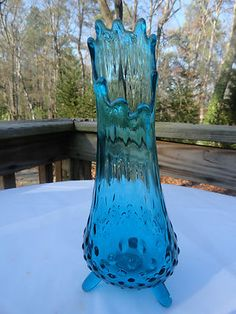 VTG MID Century Modern VIKING Aqua Blue Hobnail Art Glass Vase Tripod Pedestal