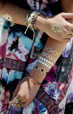 gold & silver metallic flash tattoos.
