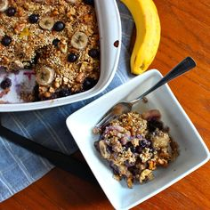 Quinoa-Oatmeal Bake with Blueberries, Bananas, and Walnuts - Get Off Your Tush and Cook!
