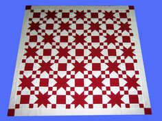 Incredible Handmade Patchwork Red White Star Design Quilt Top | eBay $80