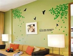 Green Leaf and Birds Wall Decal Stickers