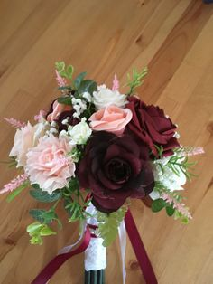 Burgundy , blush pink, Ivory round bridal bouquet. Made by me.
