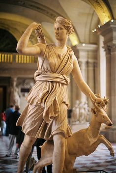 Artemis was the Greek goddess of hunting, wild nature, and chastity. The daughter of Zeus and sister of Apollo, Artemis was regarded as a patron of girls. Roman Mythology, Greek Mythology, Potnia Theron, Roman Gods, Greek Gods And Goddesses, Ancient Goddesses, Greek Statues, Ancient Greek Architecture, Greek Art