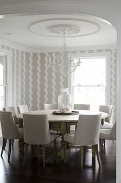 Circular Dining Room Table Best Of Beige Dining Room with Round Dining Table Seats 10 Beige Dining Room, Nautical Dining Rooms, Dining Room Art, Ikea Dining, Large Round Dining Table, Round Dining Room Sets, Round Tables, Dining Room Wallpaper, Of Wallpaper