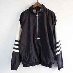 Vintage 90's Adidas Black Pullover Windbreaker by StreetDeco