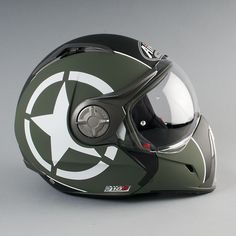 Love this miltary liveried helmet. Airoh J-106 P-J Shot Green