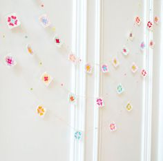 Mini Granny Square Garland - Crocheted Housewares