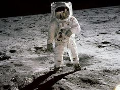 "July 20, 1969: First Man Walks on the Moon    On this day in 1969, the spaceflight Apollo 11 landed the first humans, Americans Neil Armstrong and Buzz Aldrin, on the moon.  People watched worldwide as Armstrong took that momentous first step onto the moon, declaring, ""This is one small step for a man, one giant leap for mankind."""