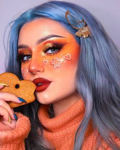 Get Free Cosmetic Samples! Who else could eat gingerbread all day? Stunning look by the talented wearing the Princess Pinky. Cool Makeup Looks, Creative Makeup Looks, Dyed Hair Blue, Hair Color Blue, Color Me Badd, Arctic Fox Hair Color, Cool Halloween Makeup, Permanent Hair Dye, Stunning Makeup